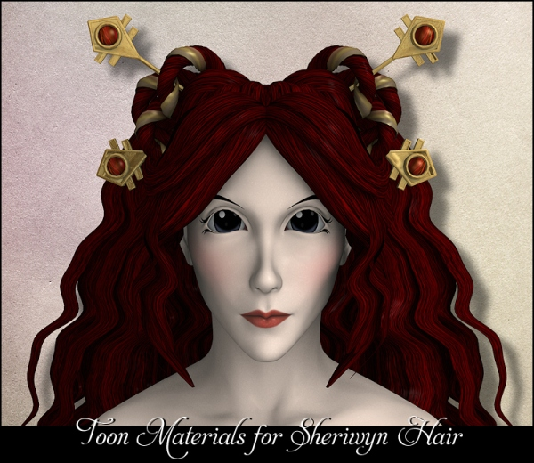 Toon MATs for Littlefox's Sheriwyn Hair - DS 3.1 + and Poser 5 +