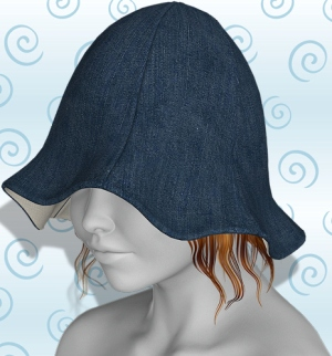 tulip hat denim plain