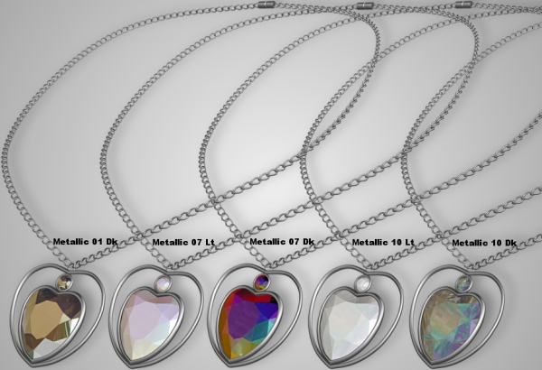 metallics heart necklaces
