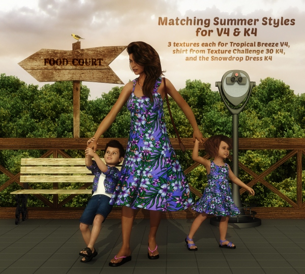 Matching Summer Styles for V4 and K4, DAZ Studio and Poser